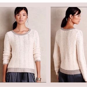 Anthropologie Moth Ivory Knit Glimmer Sweater XS